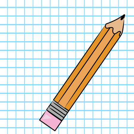 orange pencil with graph paper background - vector Vector