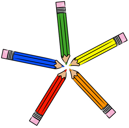 displayed: colored pencil crayons displayed in a circle - vector Illustration