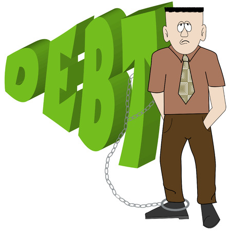 cartoon of business man chained to his debt - financial woes - vector Stock Vector - 2733735