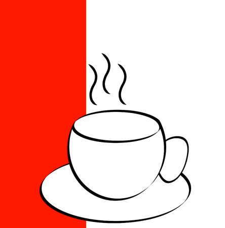 coffee mug or tea cup outline with red and white background - vector