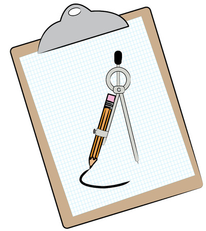 clipboard w graph paper compass and pencil - vector Stock Vector - 2733733