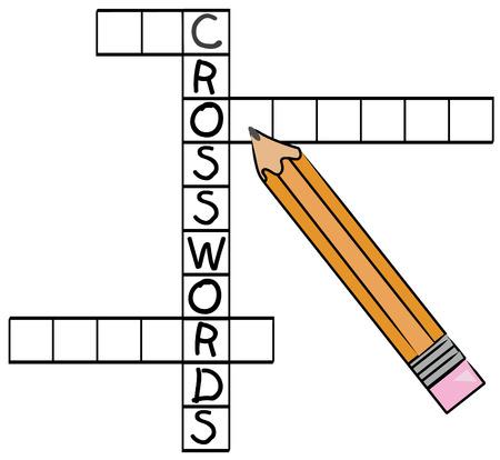 orange pencil filling in crossword puzzle - vector