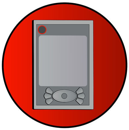 agenda electr�nica: pda organizador electr�nico o en un bot�n rojo - vector Vectores