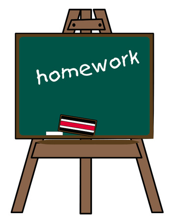 chalkboard on easel with the words homework - vector Illustration