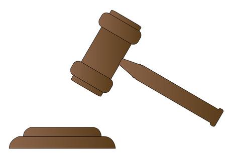 gavel: gavel - hammer of judge or auctioneer - vector
