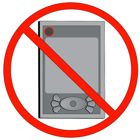 not permitted: pda not allowed or turn off electronic devices - vector