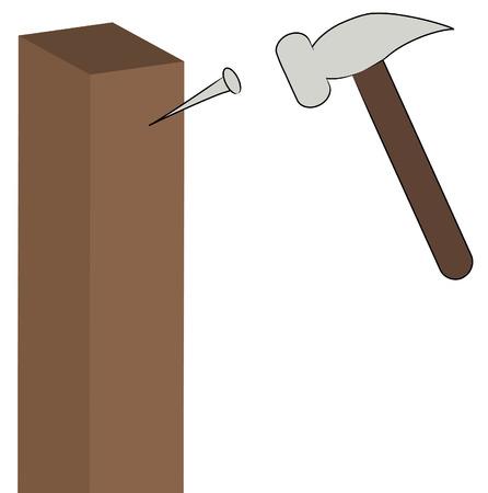wooden post: martillo poner un clavo en una pieza de madera - vector  Vectores