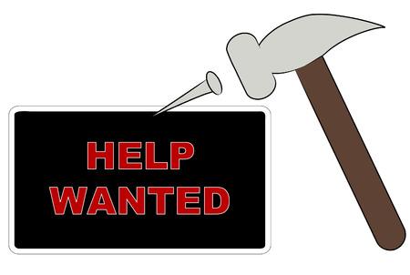 help wanted sign: martillo y clavo desplazamiento quer�a ayudar firmar - vector  Vectores