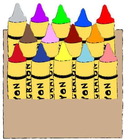childs box of colorful crayons - vector illustration Vector