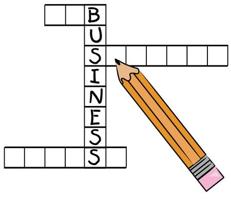 pencil filling in the word business on crossword puzzle - vector Vector