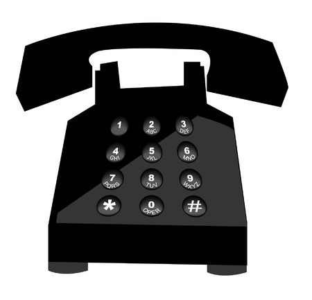 earpiece: black telephone with push button numbers - vector