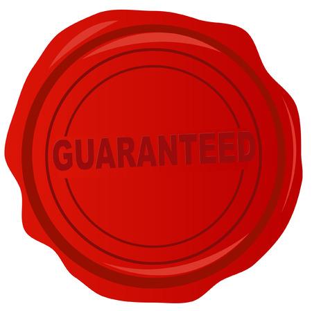 tampon cire: cachet de cire rouge avec le mot garantie dans ce - vecteur