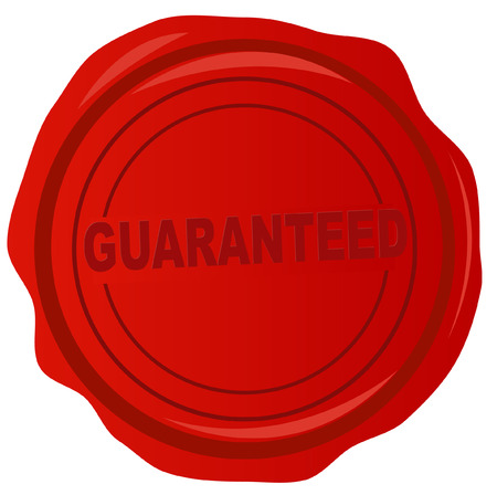 red wax stamp with the word guaranteed in it - vector Vector