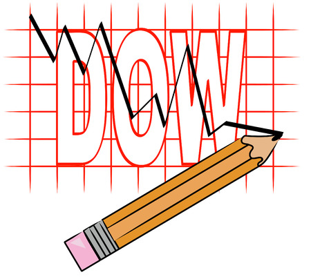 nasdaq: pencil and grid graph with dow going down - vector