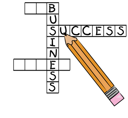 crossword puzzle with successful business words - success, business - vector Vector