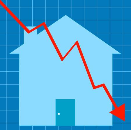 blue graph with house - crashing housing market - vector Stock Vector - 2743495