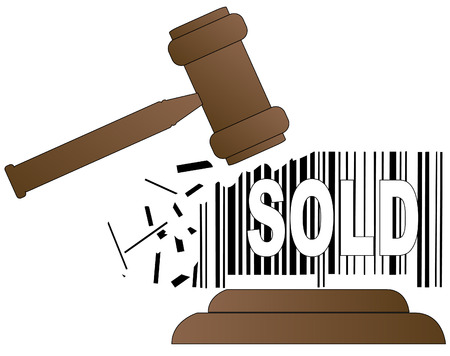 auctioneer: auctioneers gavel smashing down sales barcode - vector