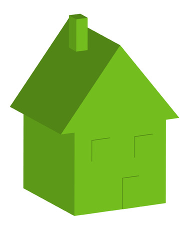 residential homes: 3D green house with windows and doors - vector