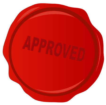 approve icon: wax stamp or seal with approved stamped acrossed it - vector