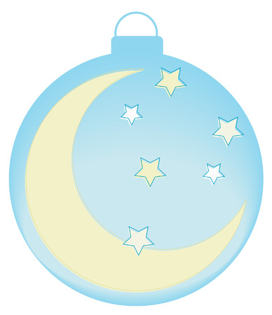 moon: ornament with moon and stars - soft blue colors - vector