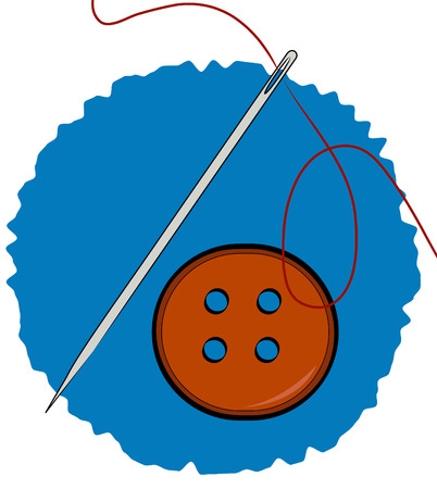 darn: needle thread and clothing button on blue background - vector