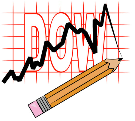 dow: pencil and grid graph with dow going up - vector