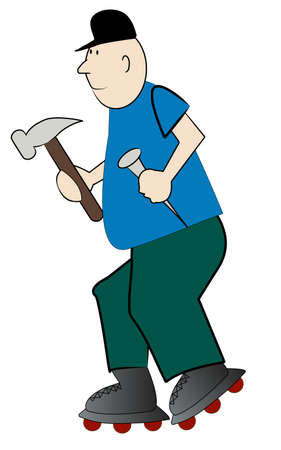 tough man: cartoon carpenter in a hurry to do his repairs - vector Illustration