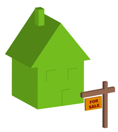 ownership equity: 3d house with for sale sign out front - vector Illustration