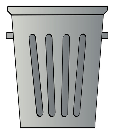 clean off: grey garbage can  on white background - vector