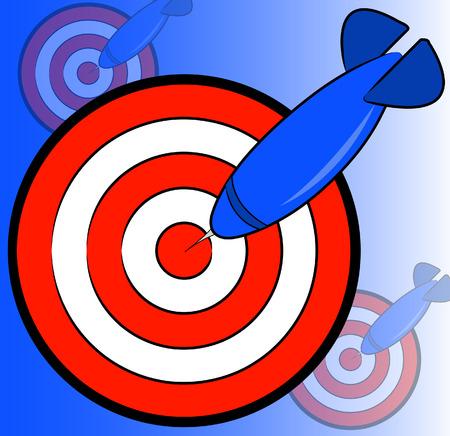 multiple choice: dart and bullseye background on blue - hitting the target - vector