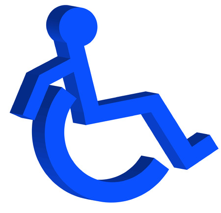 reserved sign: 3D handicap or wheelchair accessible symbol on the move - vector Illustration
