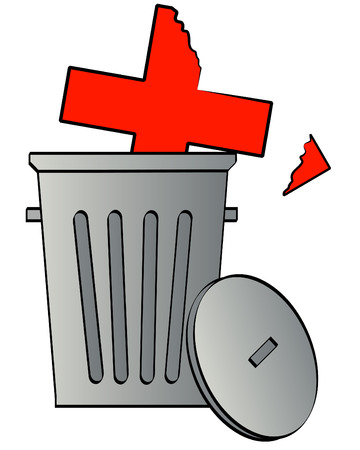 damaged: damaged health care symbol tossed in the garbage - vector