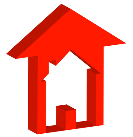 house prices: 3d - red up arrow with house inside - rising prices in housing market - vector
