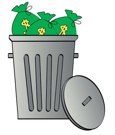 gastos: bags of money thrown in a garbage can - throwing away money Ilustração