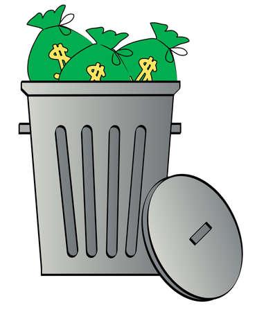 geld: zakken van geld gegooid in een vuilnis bak - geld weg te gooien