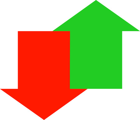 joined: red down and green up arrow joined together - unstable economy - vector