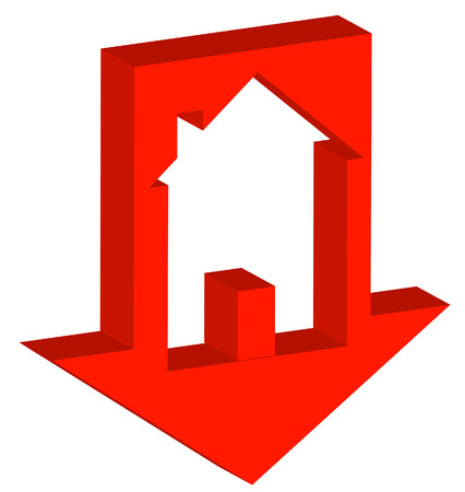 real state: 3D red down arrow with house inside - crashing housing market - vector Illustration