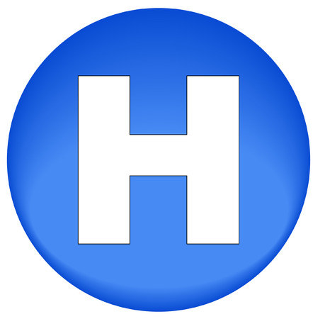 hobble: blue button or icon with hospital  symbol - vector