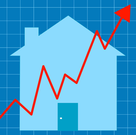 housing problems:  blue graph with house - unstable housing market - vector Illustration