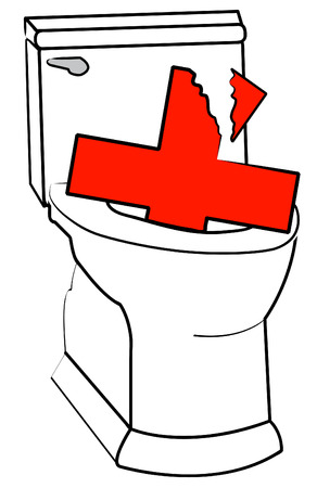 toilet: broken health care symbol and toilet  - deficient health care system - vector