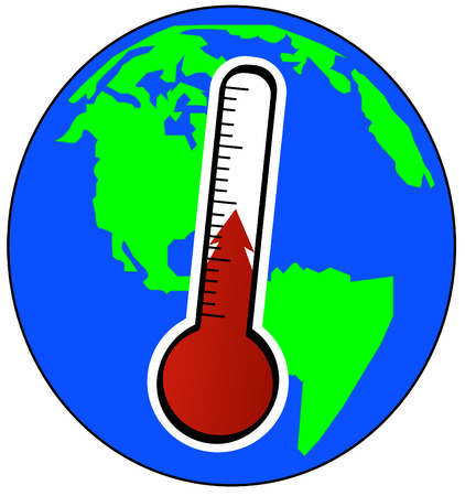 digital thermometer: globe and thermometer - concept of global warming - vector