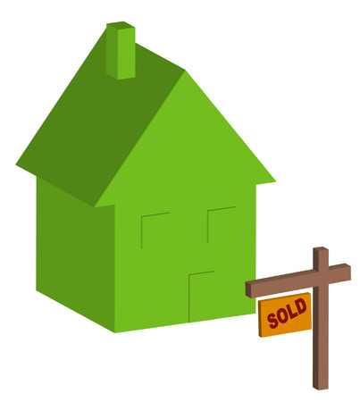 ownership equity: 3d house with sold sign out front - vector