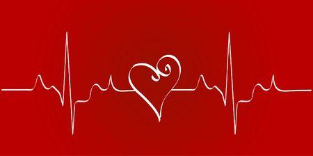 cardioid: cardiograma coraz�n con coraz�n en fondo rojo - vector  Foto de archivo