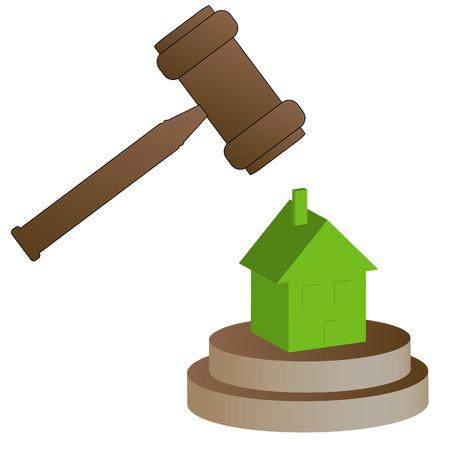 bid�: gavel smashing house - home foreclosure concept - vector