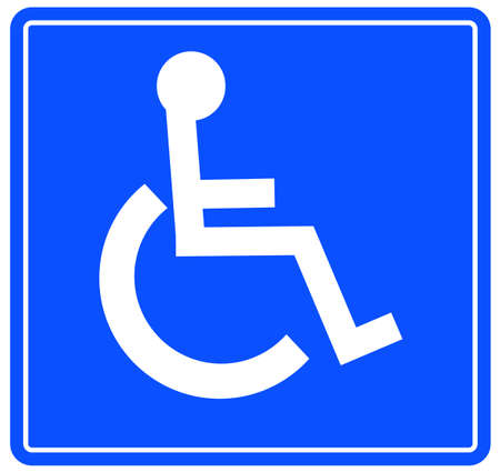 disable: blue handicap parking or wheelchair accessible sign - vector
