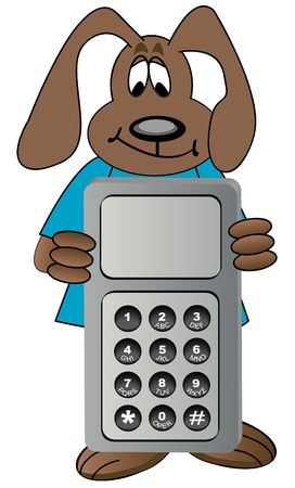 cartoon dog holding cell phone photo