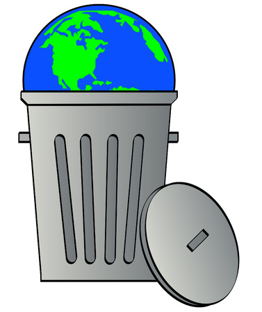 globe or earth tossed in garbage can - global waste - vector Vector