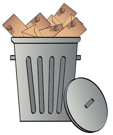 unwelcome: envelopes tossed in a garbage can - junk mail - vector