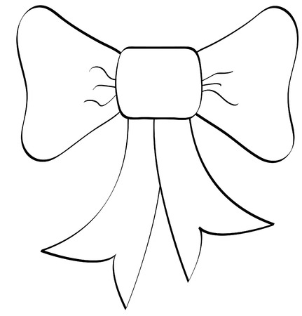 bows and ribbons: outline of large bow or ribbon isolated on white background - vector Illustration