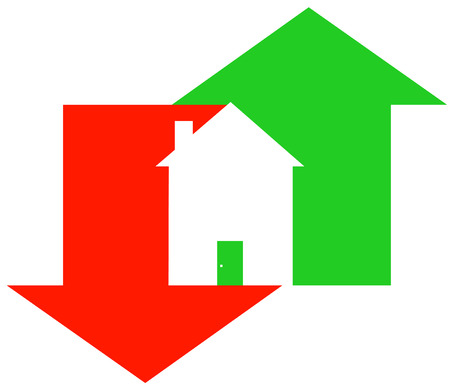 housing problems: up and down arrow with house - fluctuating housing market - vector